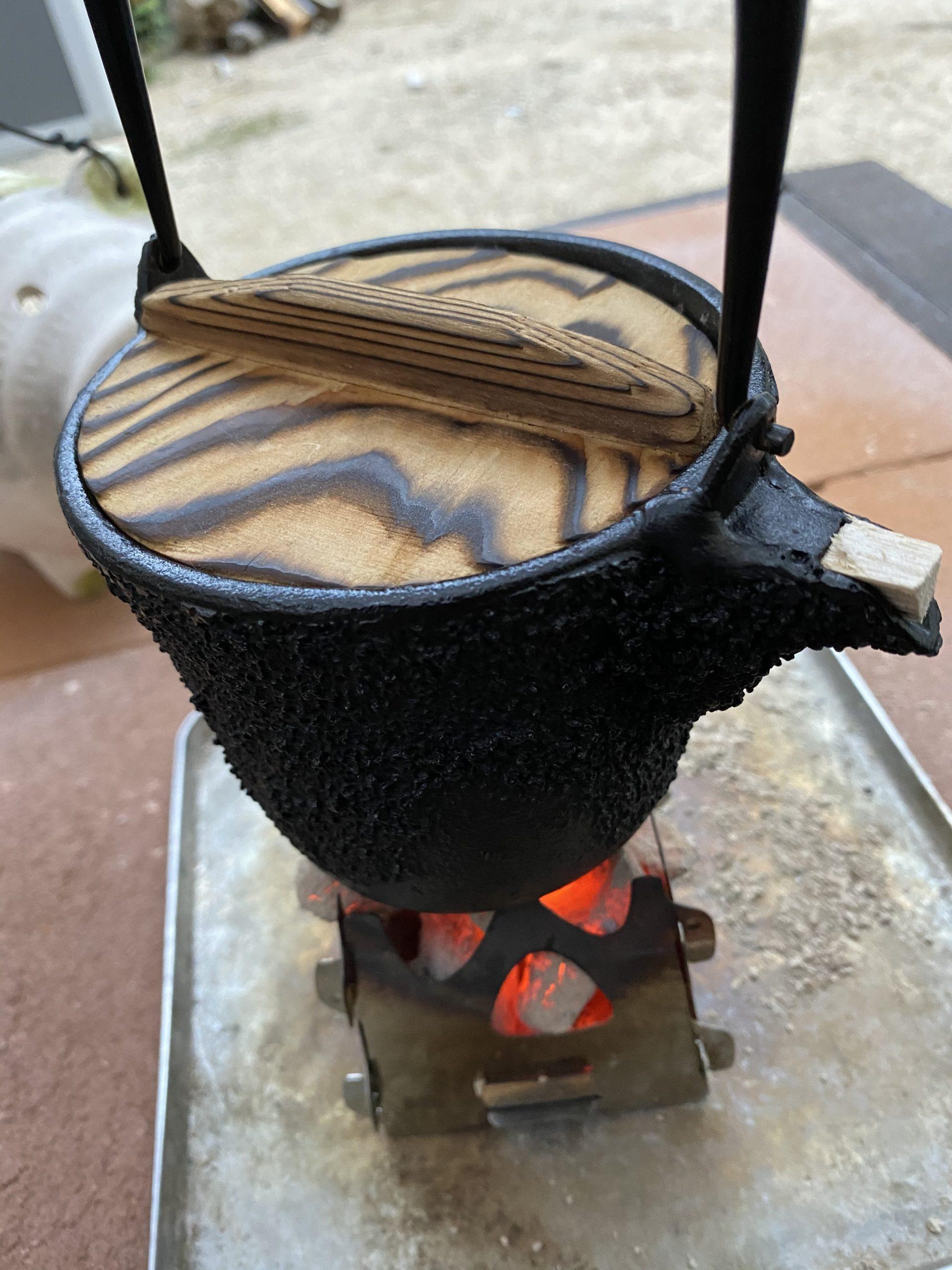 炭火で炊飯
